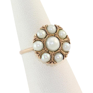 14K Natural Pearl Ring Circa 1940s
