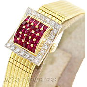 Omega Lady Vintage Ruby Diamond Covered Dress Watch18K