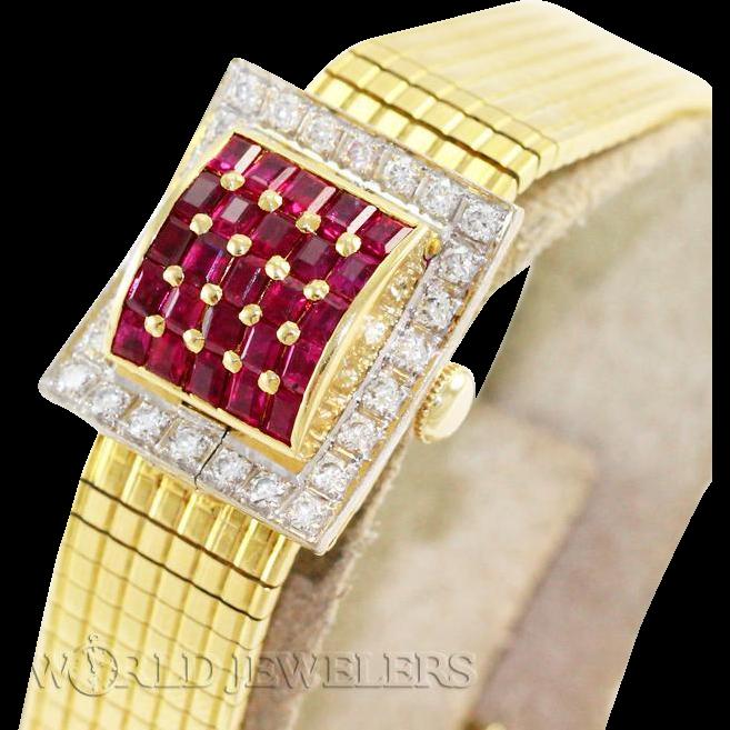 Omega Lady Vintage Ruby Diamond Covered Dress Watch18K