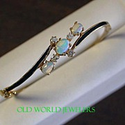 Opal & Diamond Bangle Bracelet w/Enamel