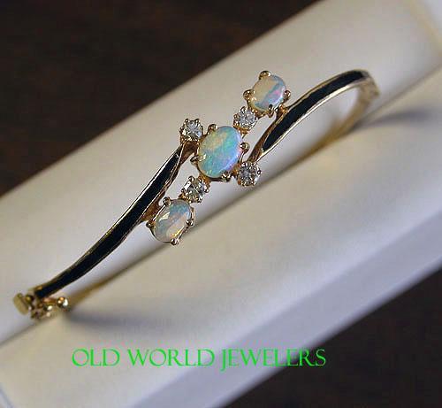 Opal & Diamond Bangle Bracelet w/Enamel