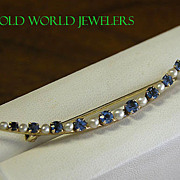 14K Antique Sapphire Pin with Pearl Accents