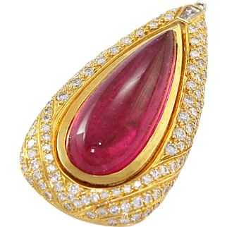 18k Yellow Gold Cabochon Vibrant Pink Tourmaline Diamond Pendant