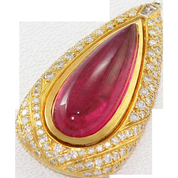 18k Yellow Gold Cabochon Vibrant Pink Tourmaline Diamond Pendant