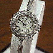Platinum Vintage Diamond Bracelet Watch