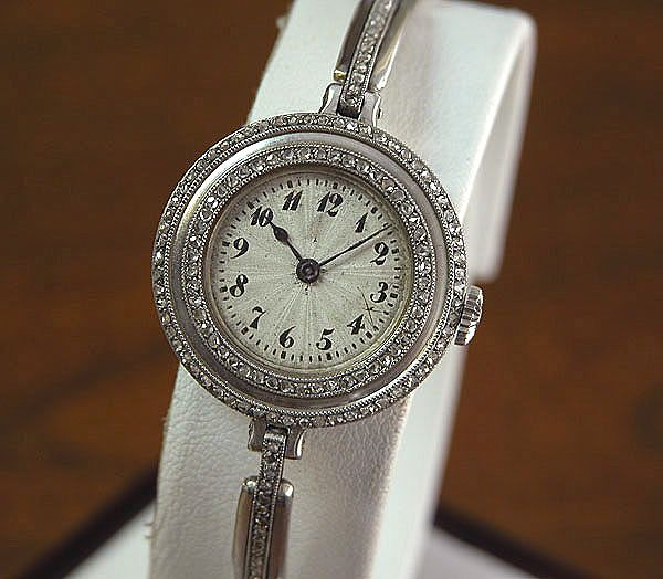 Platinum Vintage Diamond Bracelet Watch
