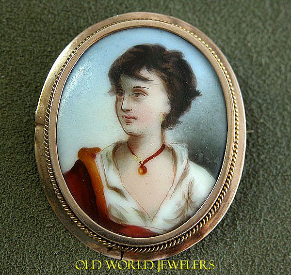 10K Rose Gold Hand Painted Porcelain Cameo Style Brooch