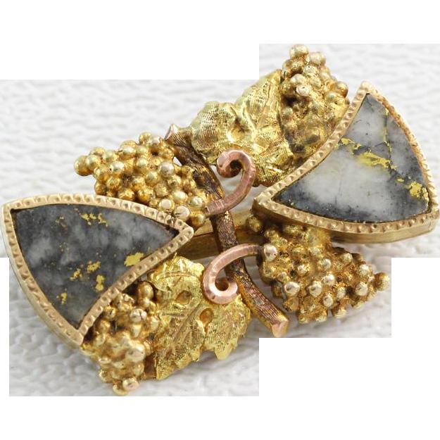 Antique Gold Rush Era Gold Quartz Grape Leaf Pin