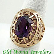 14K Rose Gold Handmade Amethyst Ring