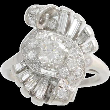 Fantastic 1940's Platinum .65ct Diamond Cocktail Ring Size 9