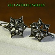 Silver Snowflake Marcasite Screwback Earrings