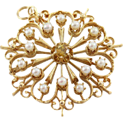 14k Gold Antique Style Brooch/Pendant Pearl Accents and Sphene Center Stone
