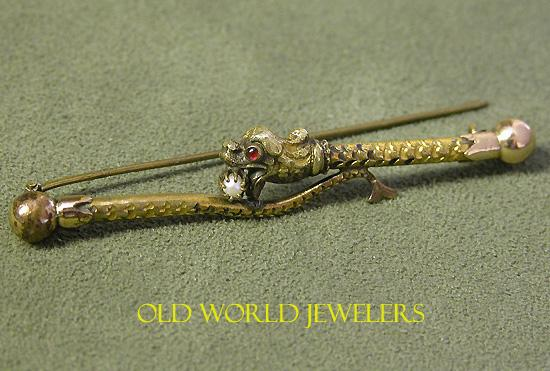 Victorian Snake Pin In 9K Gold