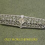 1920's 14K White Gold Filigree Pin
