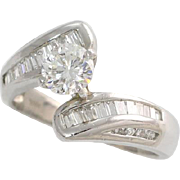Platinum Engagement Ring .50ct Round Brilliant Diamond Bypass Style