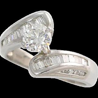 Platinum Engagement Ring .50ct Round Brilliant Diamond Bypass Style