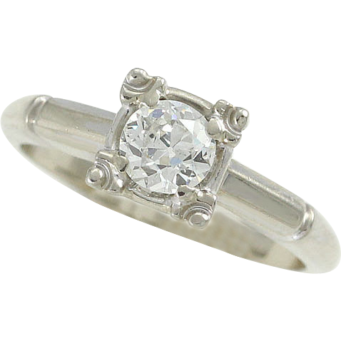 .50ct Diamond Solitaire Engagement Ring 14K White Gold