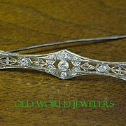 14K Antique Diamond Bar Pin .60cttw