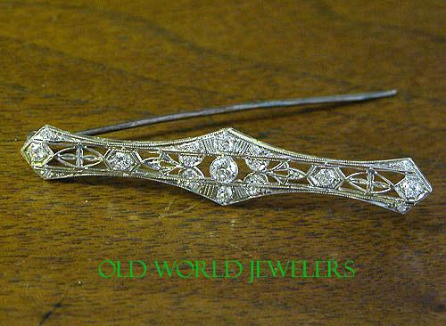 14K Antique Diamond Bar Pin .60cttw