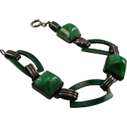 Art Deco Sterling Enamel Bracelet Circa 1925