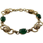 1930s Green Stone Bracelet 12K Gold Filled