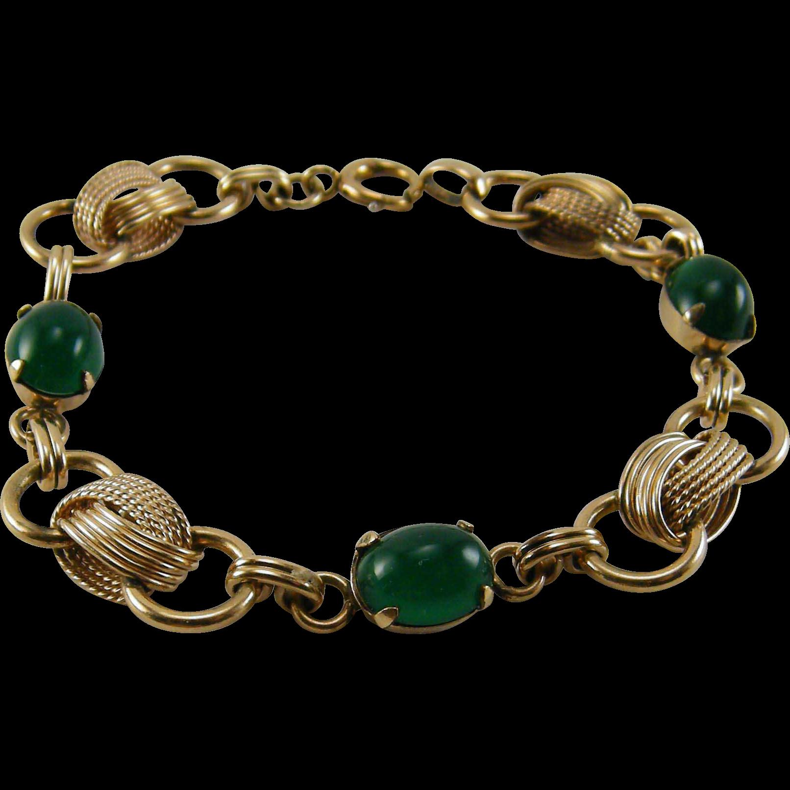 1930s Green Stone Bracelet 12K Gold Filled