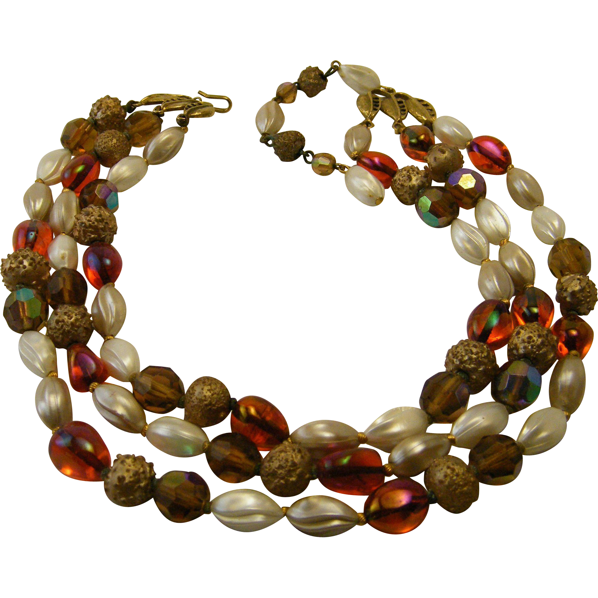 Vintage Deauville 3 Strand Necklace Glass Beads