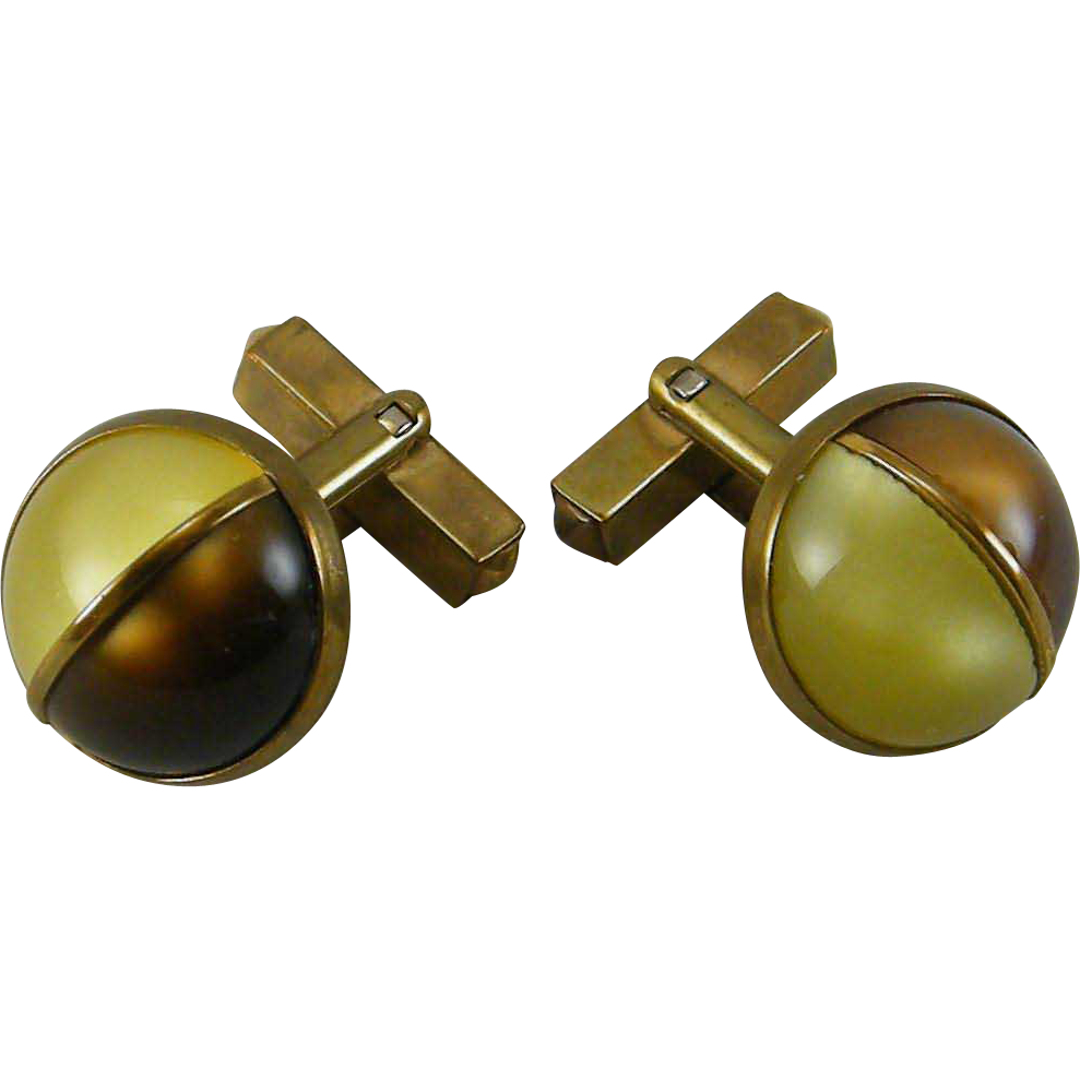 Unusual 2 Color Lucite Moonglow Cabochon Cufflinks