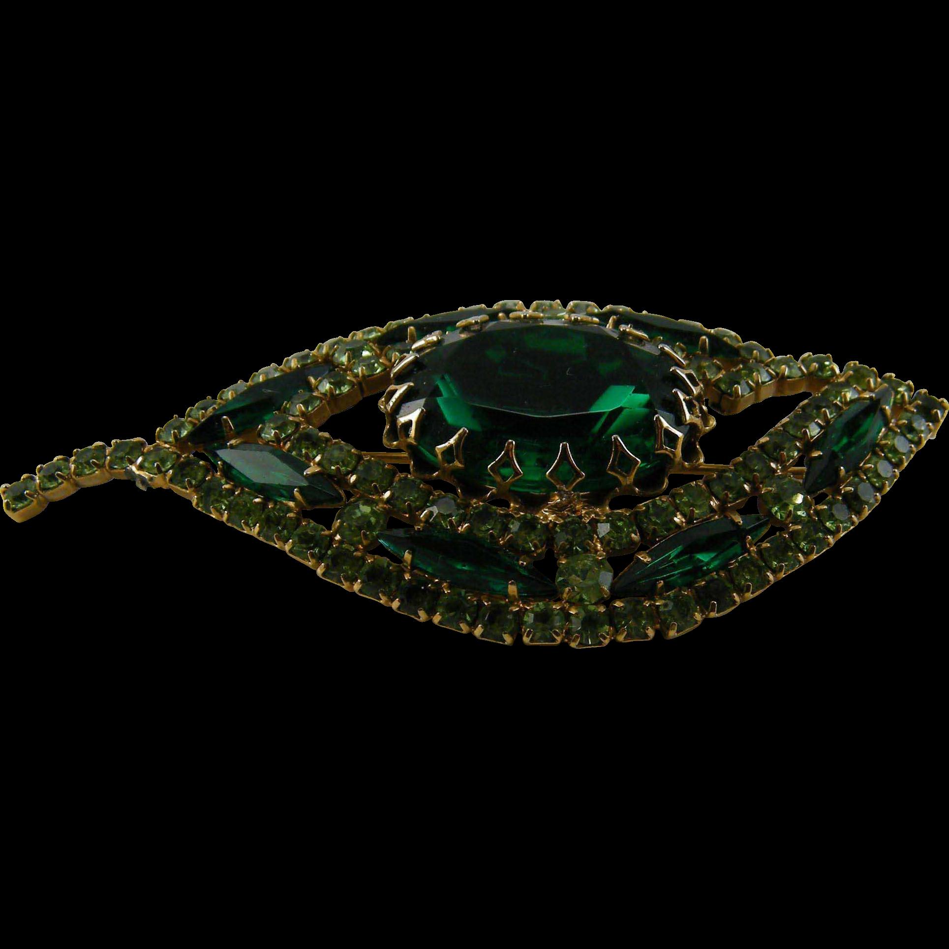 Judy Lee Large Emerald Green Rhinestone Pin
