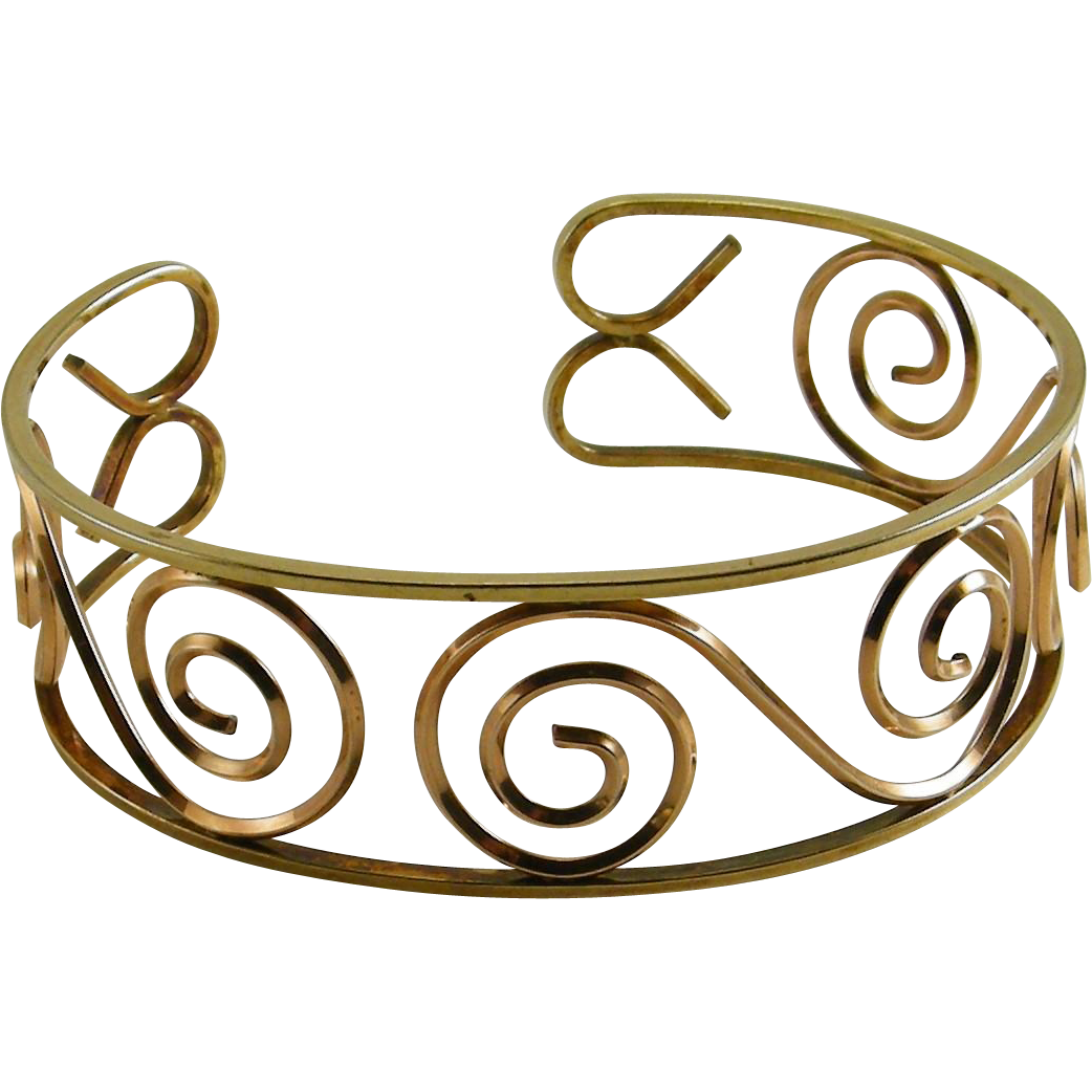 Yellow and Rose GF Open Cuff Bracelet Scrolls