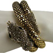 Gold Color Mesh Double Coiled Snake Bracelet Rhinestone