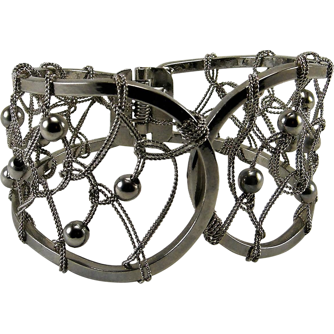 Open silvertone Cuff Bracelet With Interlooped Wires & Beads