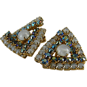 Large Triangular Moonstone Rhinestone Earrings