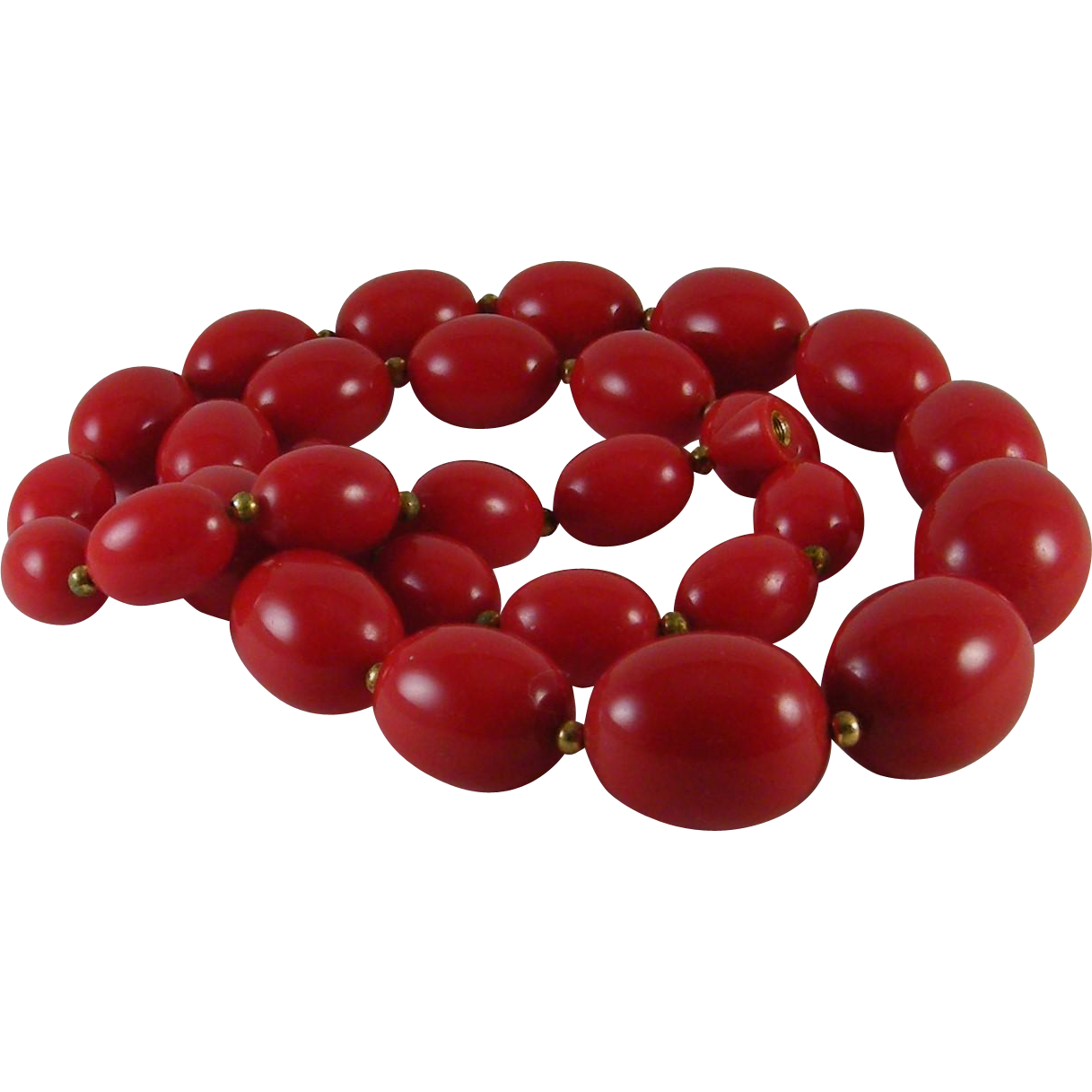 "Cherry Red 24 "" Necklace Graduating Ovoid Plastic Beads"