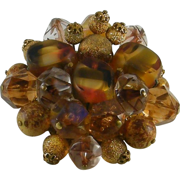 Large Brooch Art Glass & Plastic Beads West Germany
