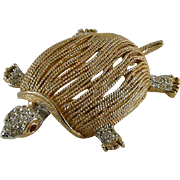 Signed Capri Turtle Pin Textured Goldtone Body Rhinestones
