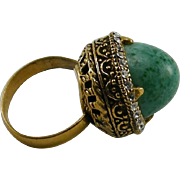 Peking Glass Bullet Shape Ornate Cocktail Ring Rhinestones