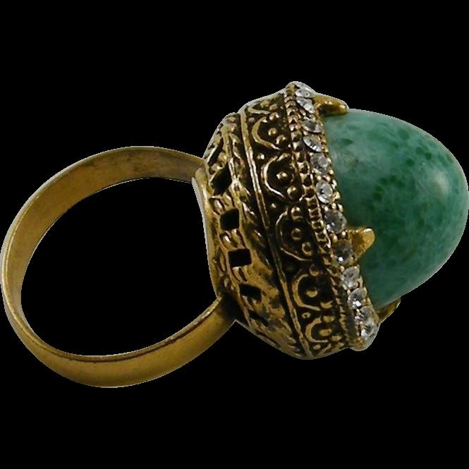 Peking Glass Bullet Shape Ornate Cocktail Ring Rhinestones