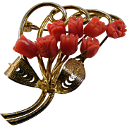 Carved Coral Roses Brooch Salmon Color