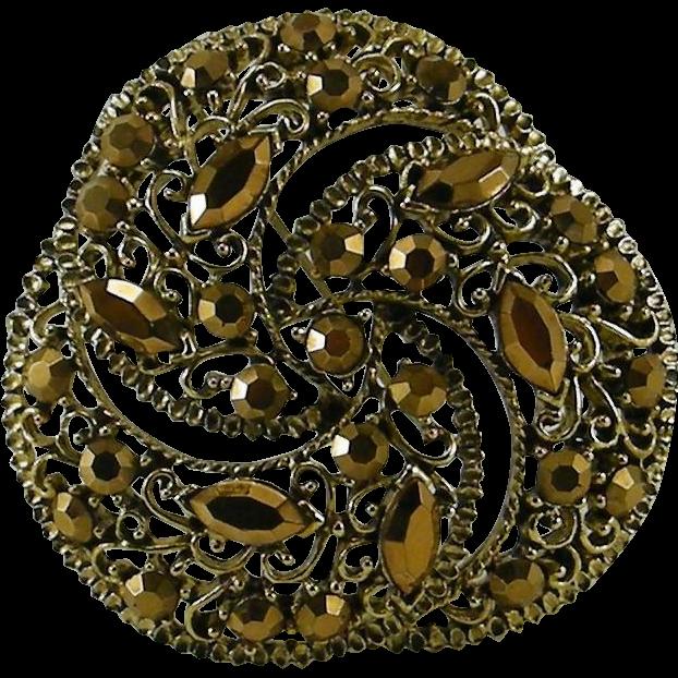 Three Crescent Gold Arum Rhinestone Pin Gold Color Rhinestones