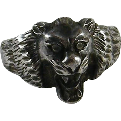 Vintage Sterling Silver Lion Head Ring Size 8