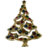 Vintage Christmas Tree Pin Swags Colored Rhinestones