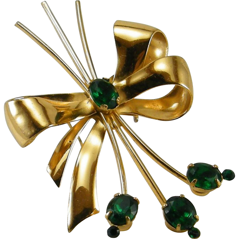 Coro 1940s Retro Bow Green Rhinestone Spray Pin