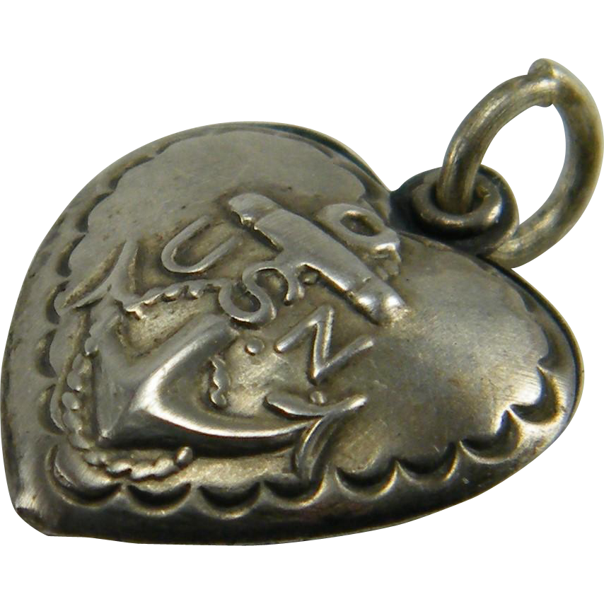 1940s Sterling US Navy Puffed Heart Charm
