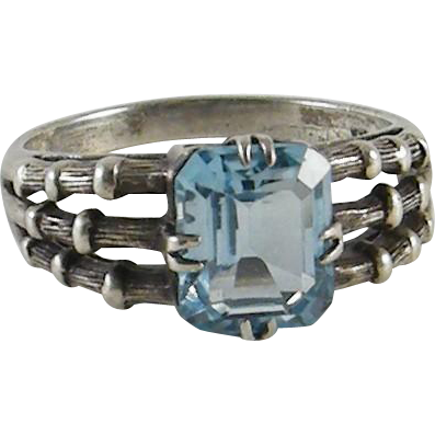 Sterling Silver Ring Blue Topaz CNA Thailand Size 10