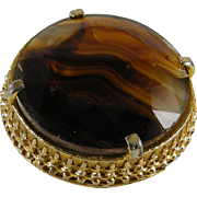 Bold Sphinx Faceted Art Glass Brooch Amber Colors