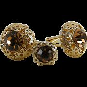Vintage Cufflinks Tie Tac Puffed Filigree Amber Rhinestone