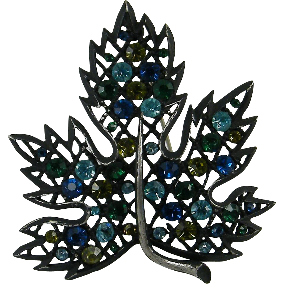 Japaned Black Lacy Leaf Pin Blue Green Rhinestones