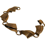Art Deco Style Wave Copper Bracelet Bell Trading Post