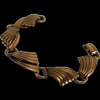 Art Deco Style Wave Copper Bracelet Bell Trading Post
